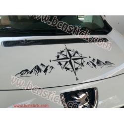 """Pegatina para furgoneta """"Rosa de vientos paisaje montaña"""""""