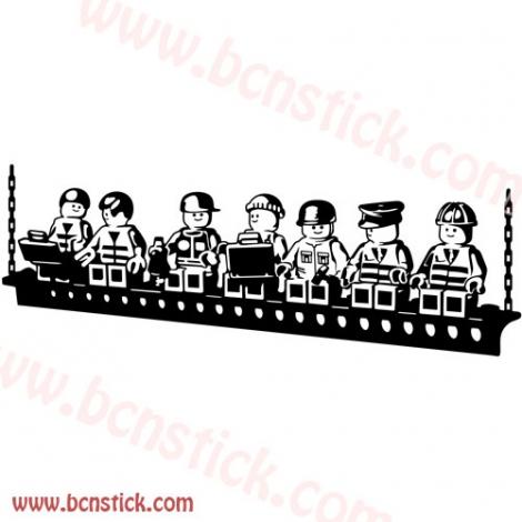 Obreros de Lego 180x60cm