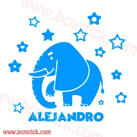 "Vinilo infantil ""Elefante"" con nombre persanalizado, medida 60x85cm"