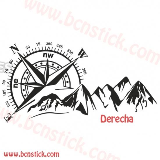 Brújula con montaña