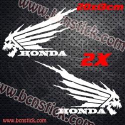 2x Logo deposito HONDA CALAVERA INFIERNO 20x13cm unidad