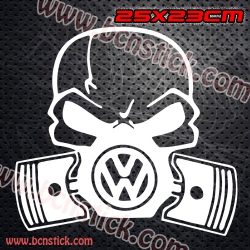 "2X Logo vinilo ""Calavera VW - Toxico"" volkswagen 23x25cm"