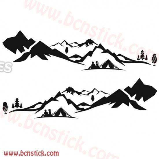 Pegatina de Vinilo con Paisaje de montañas 167x43cm