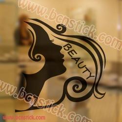 Vinilo de silueta de una chica ideal para un salon de estetica o belleza 60x60cm
