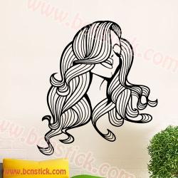 Vinilo de silueta con chica ideal para peluqueria