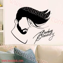 Vinilo decorativo adhesivo para peluquería con silueta de cabeza