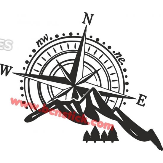 Rosa de viento con montaña 60x70cm