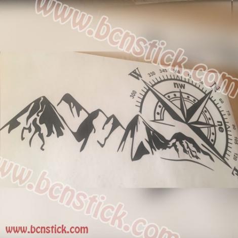 Rosa de viento con montaña 138x74