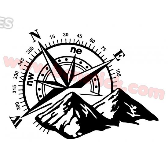 Rosa de Viento con Montaña 60x80cm
