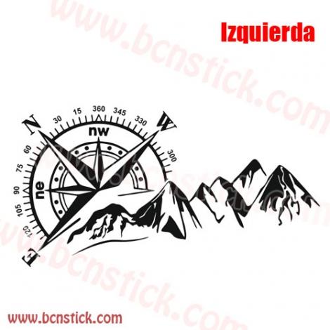 Rosa de viento con montaña 100x60cm